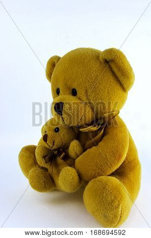 Soft and plush toys on a white background