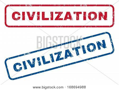 Civilization text rubber seal stamp watermarks. Vector style is blue and red ink caption inside rounded rectangular banner. Grunge design and dirty texture. Blue and red emblems.