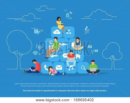 Young men and women sitting on mobile app icons and using smartphone and laptop for reading news and texting message to friends. Flat concept illustration of app addiction on blue background