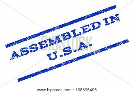 Assembled In U.S.A. watermark stamp. Text tag between parallel lines with grunge design style. Rotated rubber seal stamp with scratched texture. Vector blue ink imprint on a white background.