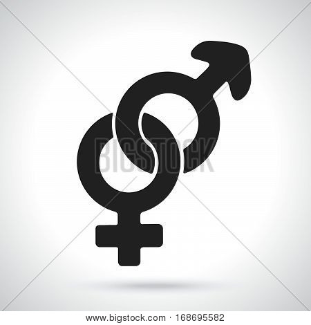 Vector illustration. Silhouette of heterosexual gender symbol. Gender pictogram. Template or pattern. Decoration for greeting cards wallpapers emblems