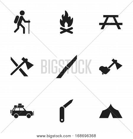 Set Of 9 Editable Trip Icons. Includes Symbols Such As Clasp-Knife, Gait, Tomahawk And More. Can Be Used For Web, Mobile, UI And Infographic Design.