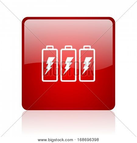 battery red square web glossy icon