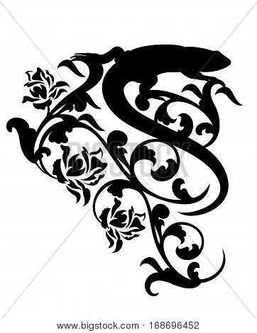 lizard and rose flowers black vector silhouette decor