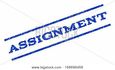 Assignment watermark stamp. Text tag between parallel lines with grunge design style. Rotated rubber seal stamp with dust texture. Vector blue ink imprint on a white background.