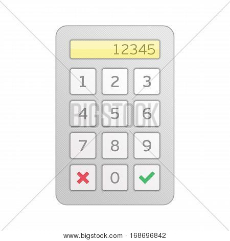 Keypad entry. Device entering security system code. Digital keypad, keyboard, dialer - access panel. Combination PIN Code on key board. Password house alarm. Vector illustration in flat style.