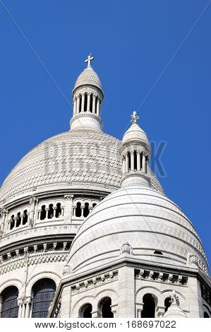 A detail of the Sacre-Coeur church Montmartre Paris France.