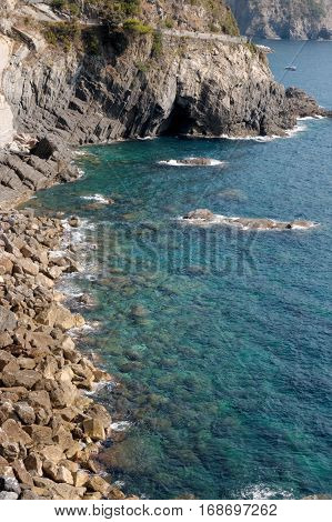 Seascape of Cinque Terre National Park in Italy