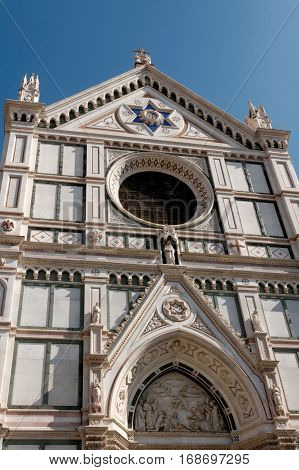 Duomo of Santa Croce in Florence Italy. The Historic Center of Florence is in the UNESCO World Heritage List.