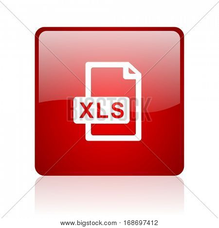 xls file red square web glossy icon.