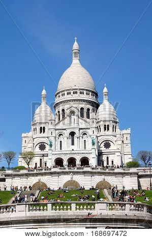 The white church Sacre-Coeur in Montmartre Paris France.