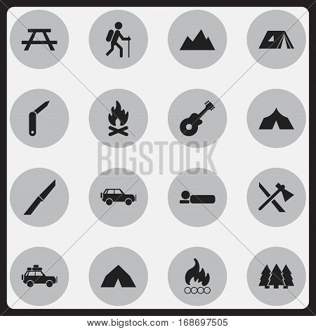 Set Of 16 Editable Camping Icons. Includes Symbols Such As Blaze, Peak, Bedroll And More. Can Be Used For Web, Mobile, UI And Infographic Design.