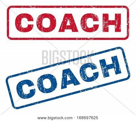 Coach text rubber seal stamp watermarks. Vector style is blue and red ink tag inside rounded rectangular shape. Grunge design and dirty texture. Blue and red signs.