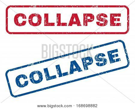 Collapse text rubber seal stamp watermarks. Vector style is blue and red ink tag inside rounded rectangular banner. Grunge design and scratched texture. Blue and red stickers.