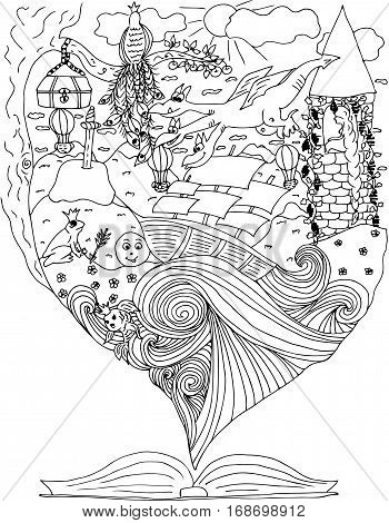 Fairy tale. journey in world of fables. ship in ocean. Vector illustration. Doodle drawing.