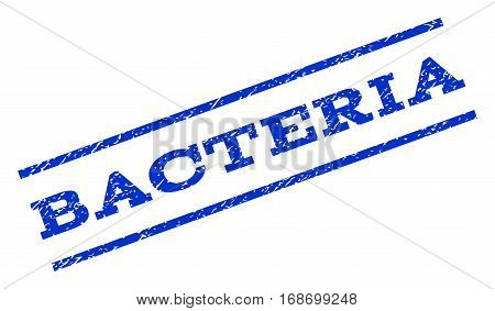 Bacteria watermark stamp. Text caption between parallel lines with grunge design style. Rotated rubber seal stamp with unclean texture. Vector blue ink imprint on a white background.