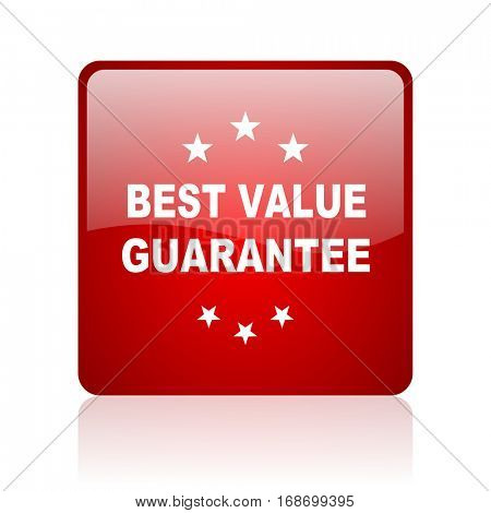 best value guarantee red square web glossy icon