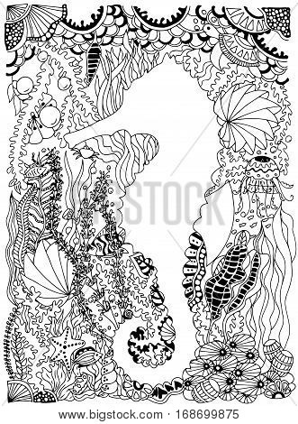 Seahorse in ocean with seaweed and fishes. Vector image in black and white.
