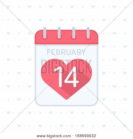 Calendar icon 14 February Valentines Day. Tear-off calendar sign with pink heart. Love concept. Vector illustration in flat style. heart. Party poster, greeting card, banner or invitation.