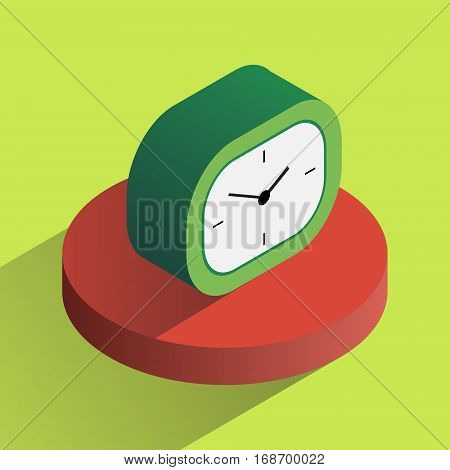 Vector colorful analog desk clock in isometric projection. Three-dimention object.