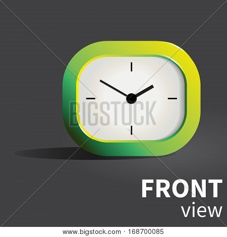 Vector analog realistic desk clock in green palette. Front view object
