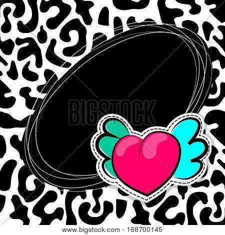 Fashion patch badges elements with hearts, comic speech bubbles on Leopard pattern background. Vector illustration. Woman stickers, pins, patches in cartoon 80s-90s comic text style balloon.