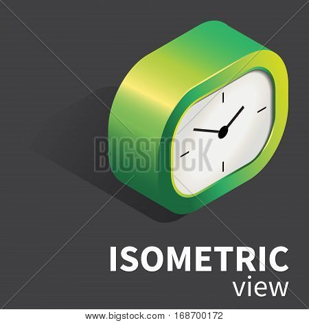 Vector analog realistic desk clock in green palette. Isolated object in isometric projection