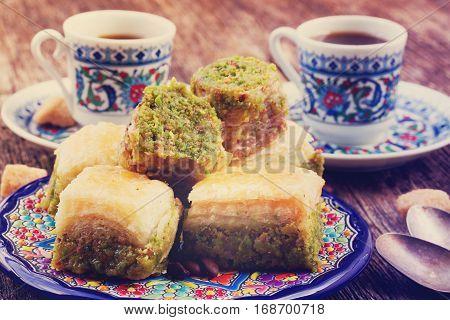turkish delights - baklava swetts with coffee, retro toned
