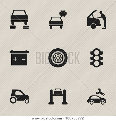 Set Of 9 Editable Vehicle Icons. Includes Symbols Such As Accumulator, Car Fixing, Automotive Fix And More. Can Be Used For Web, Mobile, UI And Infographic Design.