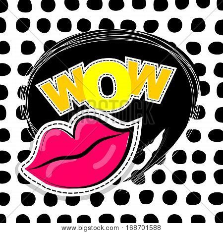 Fashion patch badges elements lips, comic speech bubbles round point background. Vector illustration lettering wow. Woman stickers, pins, patches cartoon 80s-90s comic text style balloon.