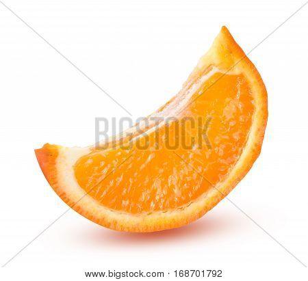 one slice of orange tangerine or Mineola isolated on white background.