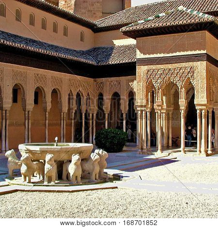 The Alhambra in Granada, Spain. Ancient fortress and site of peace and royalty.