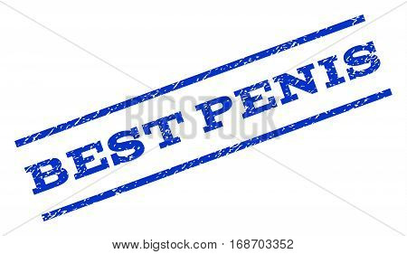 Best Penis watermark stamp. Text tag between parallel lines with grunge design style. Rotated rubber seal stamp with dust texture. Vector blue ink imprint on a white background.