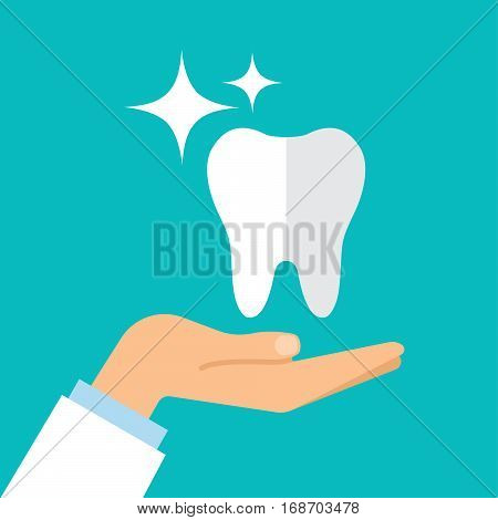A healthy tooth on the hand of the dentist. Flat design. Vector illustration