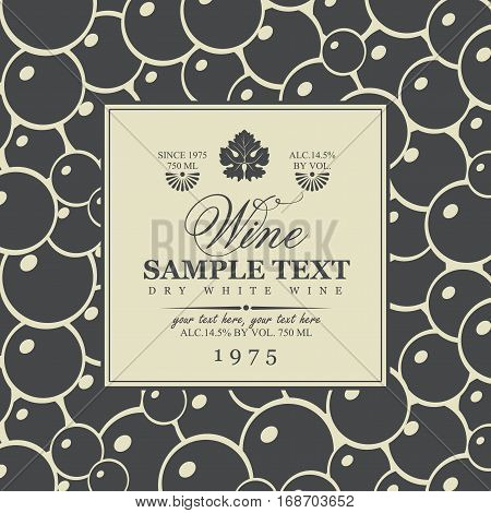 vector wine labels with vine leaves in black and white