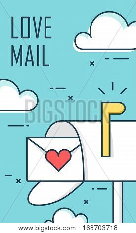 Thin line flat design greeting card for Valentine's day. Background with mailbox envelope and clouds. Vector