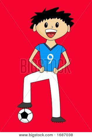 Cartoon Boy With Soccer Ball