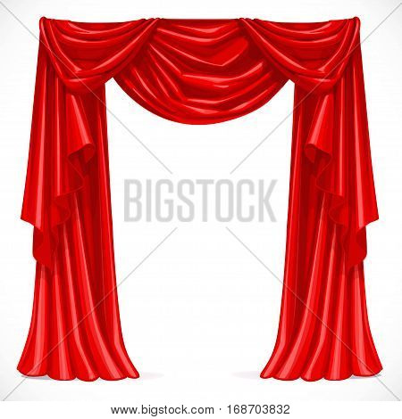 Red Curtain Draped With Pelmet Isolated On A White Background