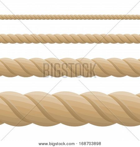 Different twine brown thickness rope. Vector set of ropes different sizes. Rope seamless pattern. Top view.