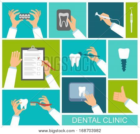 Dental instruments toothbrush x-ray of the tooth in the hands of the dentist. Flat design vector illustration.
