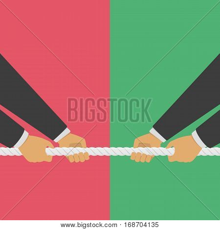 Two Businessmen pull the rope as a symbol of rivalry, competition, conflict. Tug war, two mans pulling a Rope in opposite directions. Vector illustration in flat style. EPS10.
