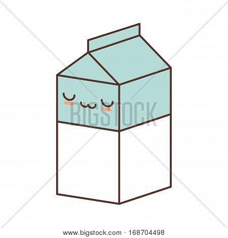 kawaii box carton milk juice vector illustration eps 10