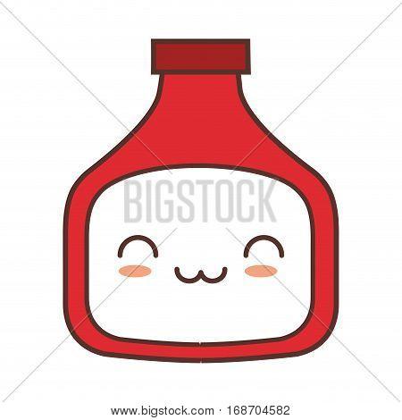 kawaii bottle sauce tomate kitchen vector illustration eps 10