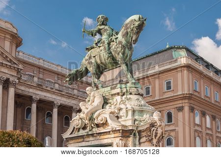 Equestrian Statue Of Prince Savoyai Eugen In Front Of The Historic Royal Palace In Buda Castle