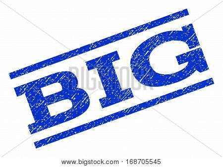 Big watermark stamp. Text tag between parallel lines with grunge design style. Rotated rubber seal stamp with dust texture. Vector blue ink imprint on a white background.