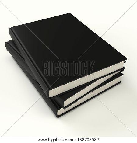 Black book pile mock up 3d illustration