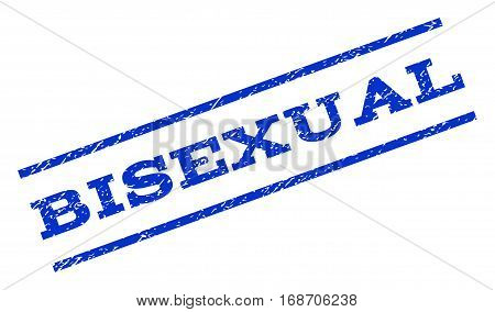 Bisexual watermark stamp. Text caption between parallel lines with grunge design style. Rotated rubber seal stamp with dust texture. Vector blue ink imprint on a white background.
