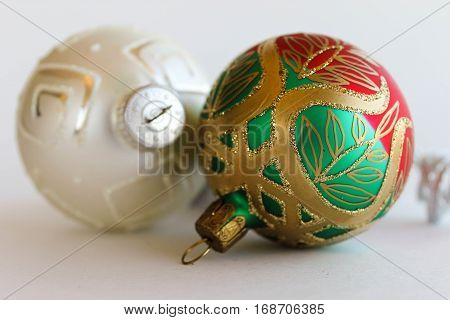 Pair of Round, Shiny, Metallic Christmas Ornaments