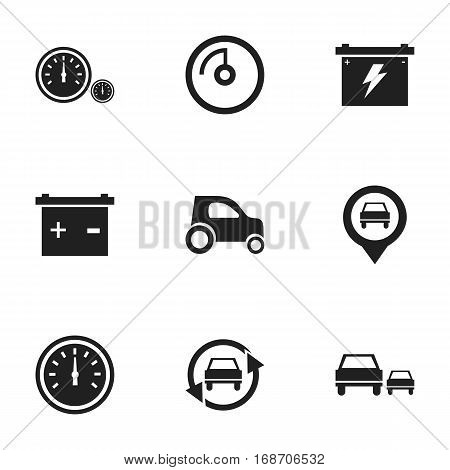 Set Of 9 Editable Traffic Icons. Includes Symbols Such As Speedometer, Vehicle Car, Accumulator And More. Can Be Used For Web, Mobile, UI And Infographic Design.