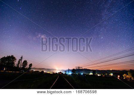 Railway night in Starry Night beautiful landscape
